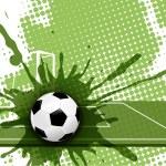 Illustration, soccer ball on abstract green backgr...