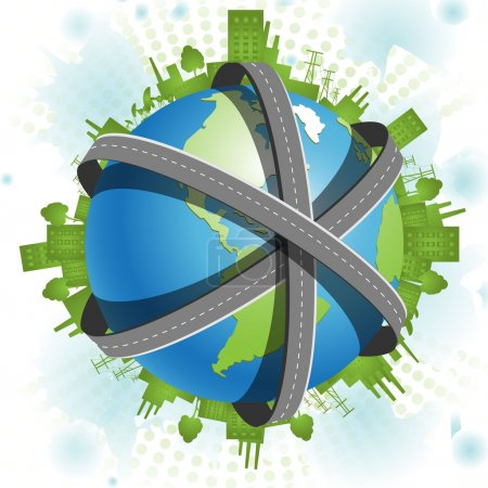 Illustration for Illustration, blue globe in network of the superhighways - Royalty Free Image