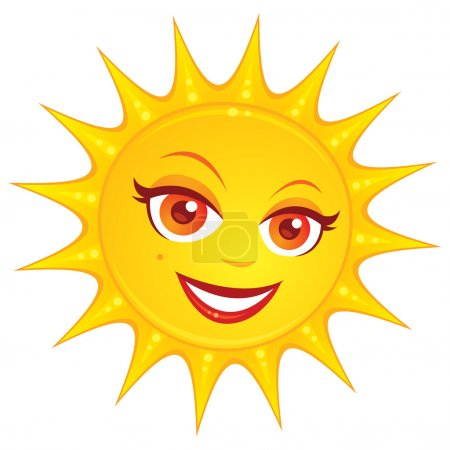 Illustration for Vector cartoon illustration of a hot smiling summer sun with a pretty female face. - Royalty Free Image