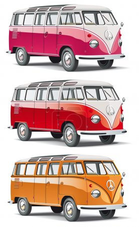Illustration for Vectorial icon set of minibus isolated on white backgrounds. Every minibus is in separate layers. File contains gradients and blends. - Royalty Free Image