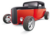 Vectorial image of red hot rod isolated on white background Contains gradients and blends