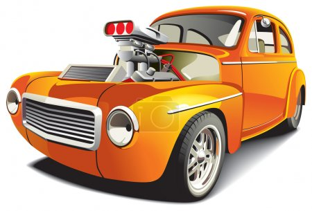 Illustration for Vectorial image of orange drag car, isolated on white background. File contains gradients, blends and mesh. No strokes. - Royalty Free Image