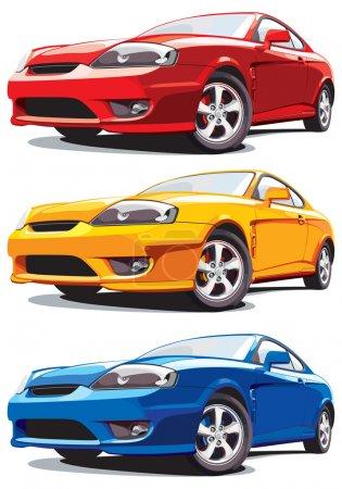 Illustration pour Ensemble de voitures de sport modernes vectorielles, isolées sur fond blanc. Chaque voiture est dans une couche séparée. Pas de mélanges ni de gradients . - image libre de droit