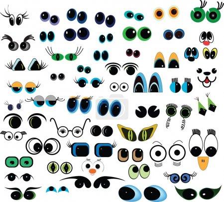 Illustration for Set of cartoon vector eyes over white background - Royalty Free Image