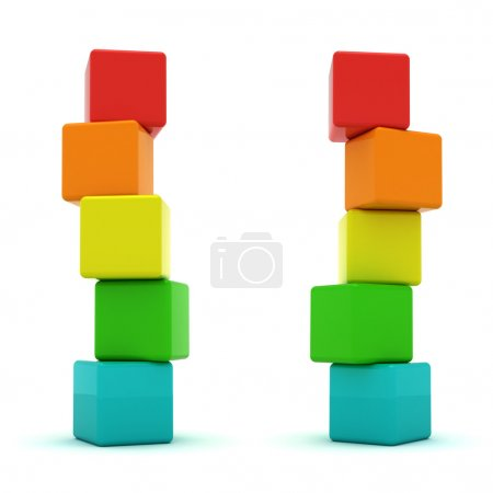Photo for Two cube towers isolated on the white background - Royalty Free Image