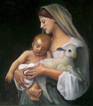 Photo pour Il s'agit de ma copie pastel huile d'une peinture de Bouguereau du XIXe siècle - image libre de droit