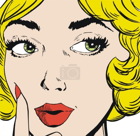 Photo for Face of a beautiful woman, drawn with old comic style - Royalty Free Image