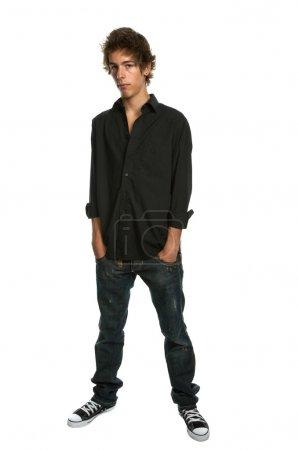 Photo pour Casual jeune homme corps entier, isolé sur blanc - image libre de droit