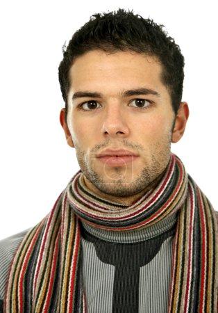 Photo pour Jeune homme nu occasionnel isolé sur blanc - image libre de droit