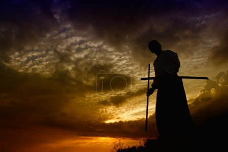 Photo for Young aikido man fighter at sunset light - Royalty Free Image