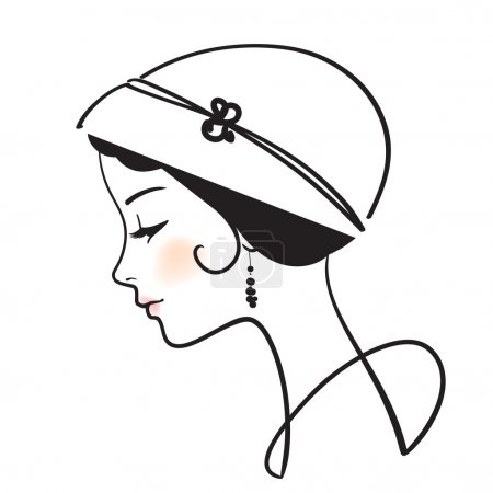 Beautiful woman face with hat illustration