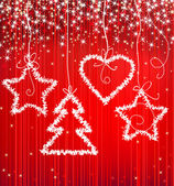 Christmas red sparkle background with tree star heart