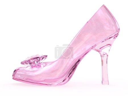 Photo pour Chaussure féminin de verre cristal Rose avec fleur sur fond blanc. image 3d en haute résolution - image libre de droit