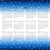 Horizontal 2011 calendar template at wet background
