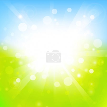 Illustration for Sunny abstract light green and blue background with copyspace - Royalty Free Image