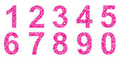 Set of numbers designed with flowers