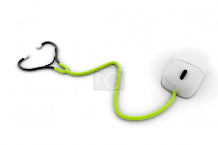 Conceptual stethoscope with a computer mouse in di...