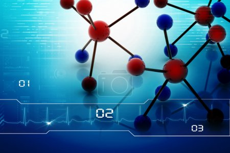 Photo for Digital illustration of molecules in abstract background - Royalty Free Image