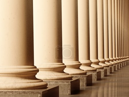 Photo for Old columns is ancient style. Realistic 3D illustration sepia toned - Royalty Free Image