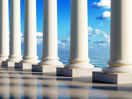 Photo for Ancient style columns at sea coast. Realistic 3D illustration. - Royalty Free Image