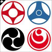 Martial art-karate colored simbol set Vector