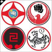 Kampfkunst-Karate farbig Simbol Satz. Vektor