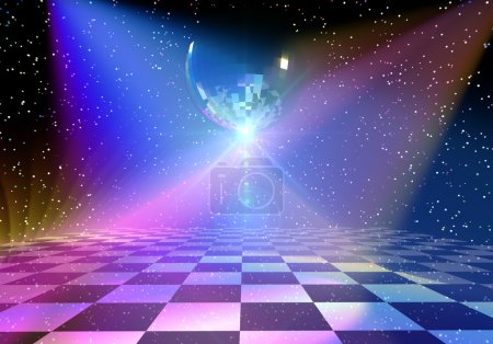 Photo for Dancing floor with mirror ball. Rendered 3d background - Royalty Free Image