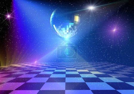 Photo pour Piste de danse avec boule miroir. Rendu 3d arrière-plan - image libre de droit
