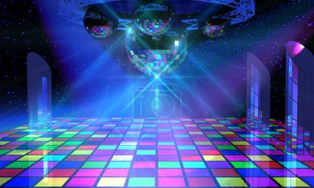 Photo for Colorful dance floor with several shining mirror balls, lattice framework and mirror columns - Royalty Free Image