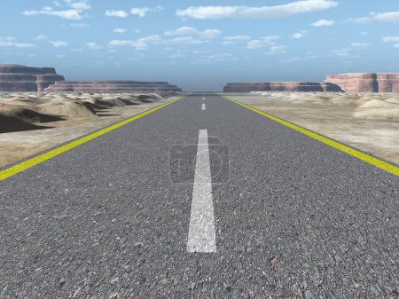 Photo pour Route asphaltée. Une autoroute de transport avec le ciel bleu. Une autoroute de transport au ciel bleu - image libre de droit