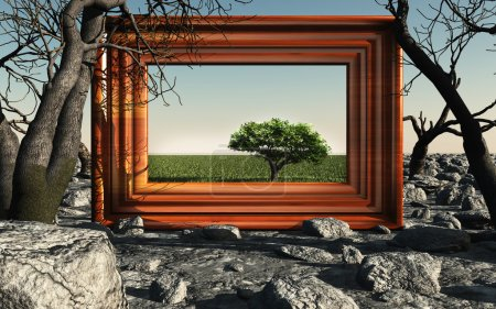 Frame with green tree