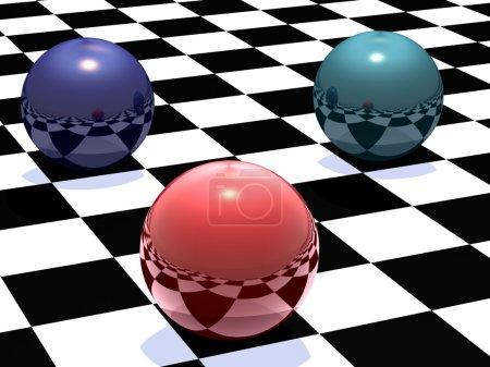 Photo pour Sphères métalliques de différentes couleurs sur un échiquier - image libre de droit