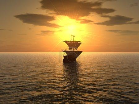 Foto de El barco flotando en una distancia sobre un fondo de puesta de sol muy eficaz - Imagen libre de derechos