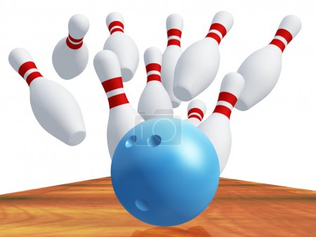 Skittles for game in bowling with blue ball
