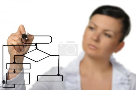 Photo for The woman drawing the diagram. Selective focus. It is isolated on a white background. - Royalty Free Image