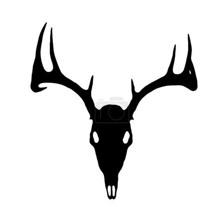 Europäische Hirschsilhouette schwarz auf weiß