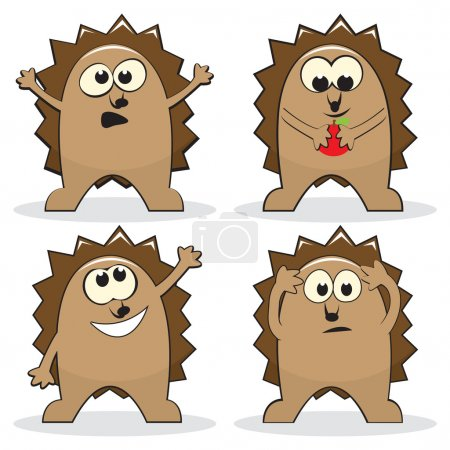 Illustration for Set of four cartoon hedgehogs. Vector illustration - Royalty Free Image