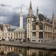 The historical city core of Ghent, Belgium...