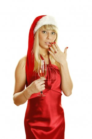 Photo for Beautiful Christmas lady in santa cloth making christmas toast. Hand closes the mouth. Isolated on a white background - Royalty Free Image
