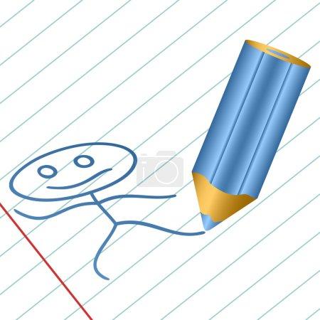 Illustration pour Le crayon bleu foncé dessine le ridicule petit homme dans un livre. Un livre d'écriture dans une règle . - image libre de droit