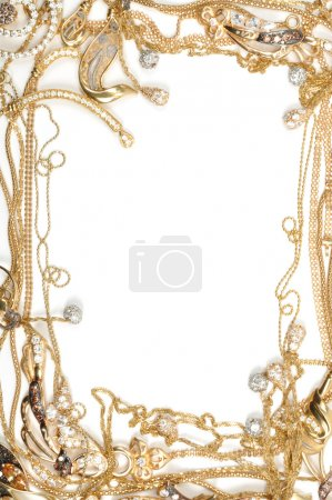 Photo for Fashion yellow gold jewelry frame, isolated on white background - Royalty Free Image