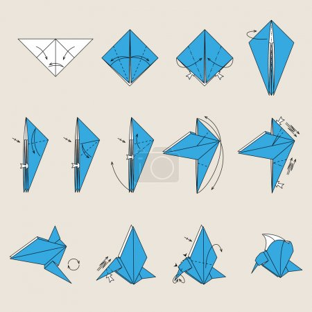 Illustration for Origami blue vector bird on light brown background - Royalty Free Image