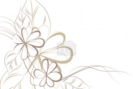 Illustration for Beautiful Floral vector background (brown flowers on light) - Royalty Free Image