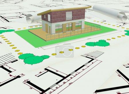 Photo pour Plan de maison colorée de trois dimensions - image libre de droit