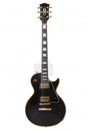Photo for Beautiful black electric guitar isolated over white - Royalty Free Image