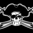 Piracy flag with skull and crossed sabres...