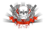 Vector image skull with two pistols and red ribbon