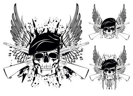 Illustration pour L'image vectorielle du crâne en béret avec les fusils croisés - image libre de droit