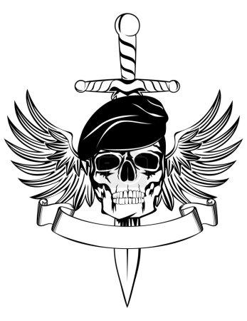 Illustration pour Crâne en béret avec poignard et ailes - image libre de droit