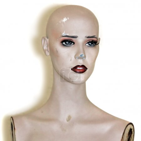 Photo for Weathered plastic mannequin doll head on white background. - Royalty Free Image